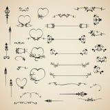 Fastställda calligraphic designbeståndsdelar inbjudan för vektor och sidagarnering Arkivfoton