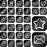 Fastställda dra symboler för krita Royaltyfri Bild