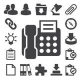 Fastställda kontorssymboler. Illustration Royaltyfri Bild