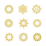 Fastställda lyxiga Calligraphic designbeståndsdelar för vektor och sidagarnering Arkivbild