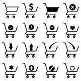 Fastställda shoppingvagnssymboler Fotografering för Bildbyråer