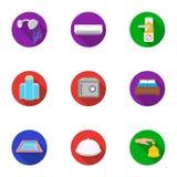Fastställda symboler för hotell i plan stil Stor samling av illustrationen för materiel för hotellvektorsymbol Arkivbild
