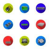 Fastställda symboler för persondator i plan stil Stor samling av persondatorsymbolet Arkivbild
