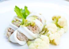 Faszerująca kałamarnica (Tajlandzki jedzenie styl) Zdjęcia Stock