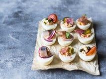 Faszerujący jajka z różnorodną polewą Prosciutto, śledź, kiszony ogórek, kiełbasa, rzodkiew, pomidor, kapary i sezam na gotowanym fotografia royalty free