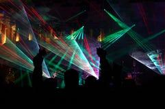 Faszinierende Effekte auf ein Konzert Stockbild