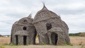 Faszinierende Skulptur geschaffen von den Baumschößlingen Stockfotografie