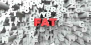 FAT -在印刷术背景的红色文本- 3D回报了皇族自由储蓄图象 免版税图库摄影