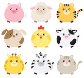 Fat Animal Set. Illustration of fat animals including pig, sheep, tiger, dog, chicken, cow, giraffe, zebra and cat Royalty Free Stock Photo
