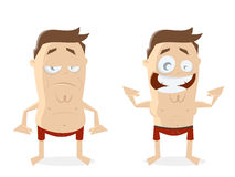 Fat and athletic guy cartoon clipart Stock Image