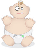 Fat baby in diaper. Over-sized unisex baby sits with a single tooth wearing a diaper accented with a safety pin royalty free illustration
