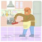 Fat bald man with frying pan Stock Photo