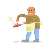 Fat bald man with frying pan Royalty Free Stock Image
