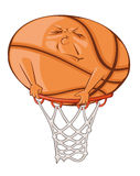 The fat ball. Is trying to get in the basketball basket Royalty Free Stock Photo