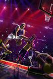 Fat Basketball non professional player in action, court and enemy 3d render. Colour royalty free stock images