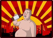 Fat beer lover Stock Images