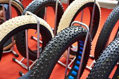 Fat bicycle tires in store Stock Photos