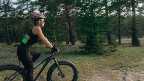 Fat bike also called fatbike or fat-tire bike in summer riding in the forest. royalty free stock photography