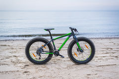 Fat bike on beach Royalty Free Stock Photo