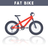 Fat bike in flat style over white Royalty Free Stock Photo