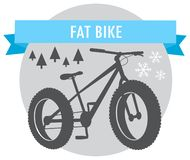 Fat bike mountain bicycle sport emblem. Vector stock illustration