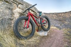 Fat bike on a trail in northern Colorado Stock Images