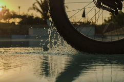 Fat bike wheel. Spinging and splashing in a swimming pool Stock Photos