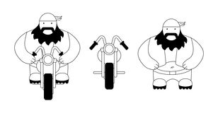 Fat biker. Contour. Funny fat, round biker with chopper motorcycle. Flat style. Line art. Black and white Stock Images