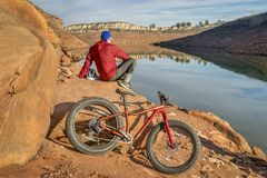 Fat biking in Colorado foothills Royalty Free Stock Images