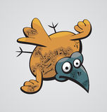 Fat Bird. Illustration of a fat cute naive surprised Bird flying Stock Photos