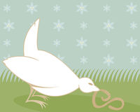 Fat Birds Eat Worms. White little bird with a worm in his beak - soft pastel colors and a flower pattern in the blue sky - also illustrates the phrase, The early Royalty Free Illustration