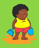 Fat black kid. Having fun at beach Vector Illustration