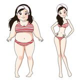 Before after fat body girl. stock illustration