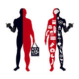 Fat body, weight loss, overweight silhouette illustration Royalty Free Stock Photos