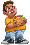 Fat boy. Smiling and ready to eat a big hamburger Royalty Free Stock Photos