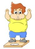 Fat boy. Illustration of a fat kid was weighing weight Royalty Free Stock Image
