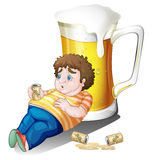 A fat boy with cans of beer near a big glass Stock Images