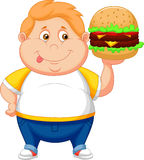 Fat boy cartoon smiling and ready to eat a big hamburger Stock Photo
