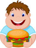 Fat boy cartoon smiling and ready to eat a big hamburger Stock Images