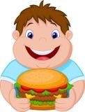 Fat boy cartoon smiling and ready to eat a big hamburger Stock Images