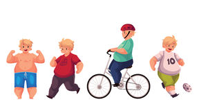 Fat boy doing sport exercises, cycling, running, playing football Stock Images