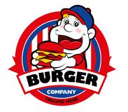 Fat boy eating burger. Cartoon cute Fat boy character eating a big burger with signboard. Burger and boy mascot delivery service logo Stock Images