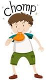 Fat boy eating chicken. Illustration Stock Image