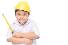 Fat boy engineer holding measure tape isolated Royalty Free Stock Photography