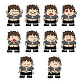 Fat Boy Expressions. Ten expressions of a fat boy. Happy, sad, angry, love, surprise, worry, embarrassment, hunger, tired and hope. - isolated over white Stock Photo