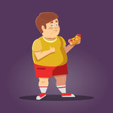 Fat Boy with Fast Food. Unhealthy Eating. Vector cartoon illustration Royalty Free Stock Image