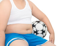 Fat boy and football isolated. Royalty Free Stock Photo