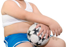 Fat boy and football isolated. Royalty Free Stock Photography