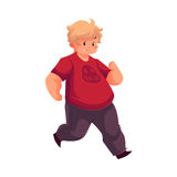 Fat boy jogging, running, living active life. Cartoon vector illustration isolated on white background. Obese, fat, chubby kid running, doing sport, getting Royalty Free Stock Photo