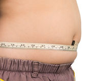 Fat boy measuring him stomach Royalty Free Stock Photos